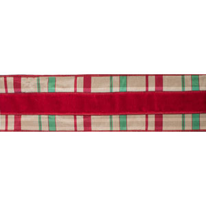 Red and Green Check Velvet Dupioni Ribbon, Five Yards
