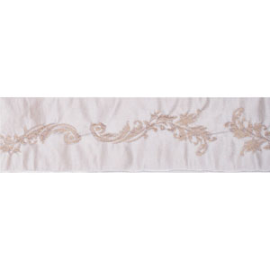 Ivory Acanthus Leaf Jacquard Ribbon, Ten Yards