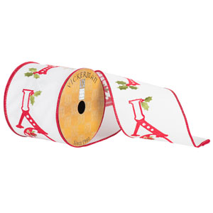 White Red Holly Berry Embroidered Joy Ribbon, Ten Yards
