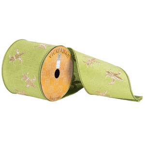 Green and Gold Embroidered Fleur-de-lis Ribbon, Ten Yards