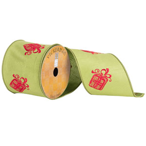 Green and Red Embroider Gift Box Ribbon, Ten Yards
