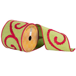 Green and Red Towel Scrolls Ribbon, Ten Yards
