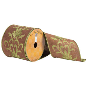 Gold and Green Embroiderd Flower Ribbon, Ten Yards