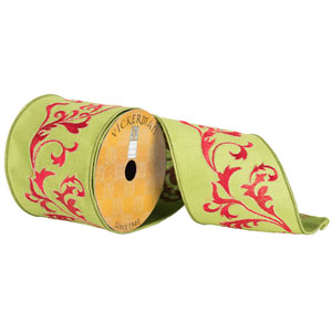 Green and Red Acanthus Vines Ribbon, Ten Yards