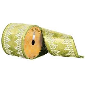 Green and White Lace on Velvet Ribbon, Ten Yards