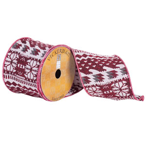 Red , White and Silver Jacquard Ribbon, Ten Yards