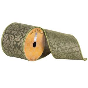 Green Embroidered Jacquard Damask Ribbon, Ten Yards