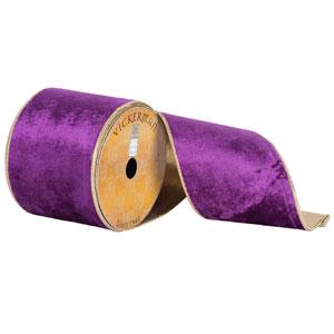 Purple Plush Velvet Gold Edge Ribbon, Ten Yards