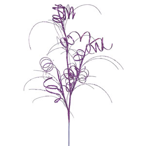 Purple Glitter Curly Spray, Set of Six