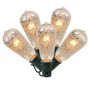 Clear Crackle Christmas Light Set with 10 Lights