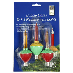 C7 Multi-Color Bubble 5 watt Repl. Bulbs 3 Pak