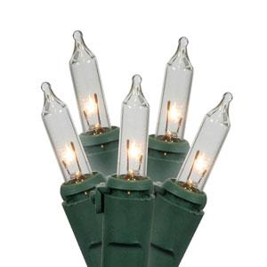 Clear Green Wire Twinkle Light Set 50 Light