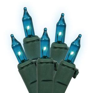 Teal Green Wire Light Set 50 Lights
