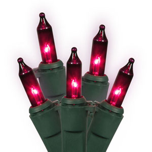Purple Green Wire Light Set 50 Lights