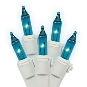 Teal White Wire Light Set 100 Lights