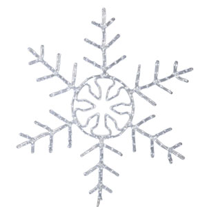 24 In. LED Pure White Forked Snowflake