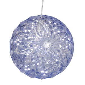 30 Light 6 Inch Polar White LED Outdoor Crystal Ball