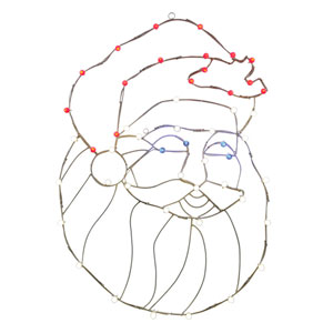 Multicolor LED Santa Head Wire Motif