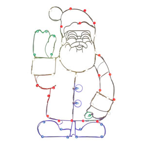 Multicolor LED Waving Santa Wire Motif