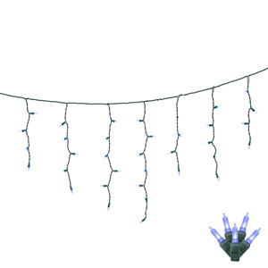 Blue LED Icicle Light Set with 70 Lights