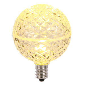 G50 Warm White Faceted LED Bulbs, Set of Five