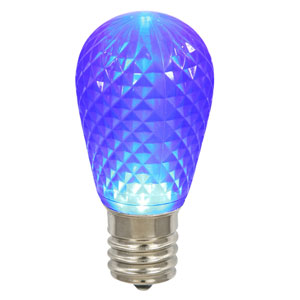 Blue 11S14 Faceted LED Lamp E26 .96W