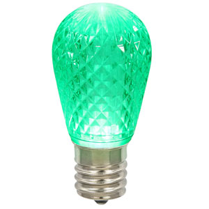 Green 11S14 Faceted LED Lamp E26
