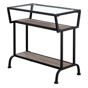 Dark Taupe and Black 12-Inch Accent Table with Tempered Glass Top