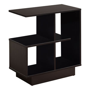 Cappuccino 12-Inch Accent Table with Four Open Shelves