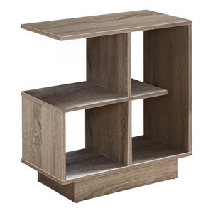 Dark Taupe 12-Inch Accent Table with Four Open Shelves