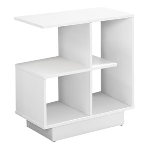 White 12-Inch Accent Table with Four Open Shelves