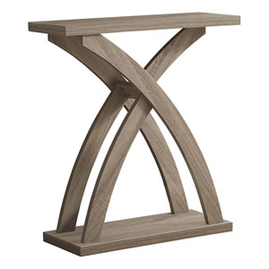 Dark Taupe 12-Inch Console Table with Curved Cross Legs