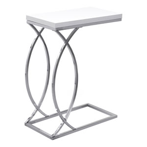 Glossy White and Chrome 18-Inch Accent Table