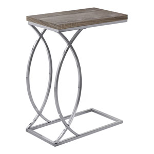 Dark Taupe and Black 18-Inch Accent Table
