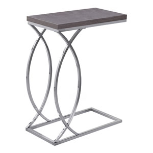 Gray and Chrome 18-Inch Accent Table