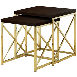 Cappuccino and Gold 20-Inch Nesting Table, 2 Pieces