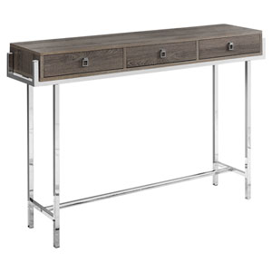 Dark Taupe and Chrome 12-Inch Accent Table with Three Drawers