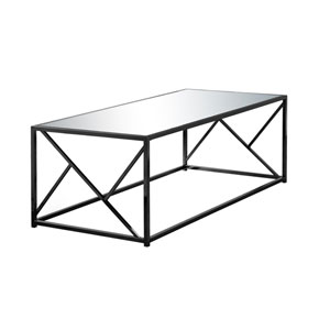 Black Nickel 24-Inch Coffee Table with Mirror Top