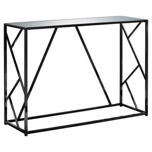 Black 16-Inch Accent Table with Mirror Top