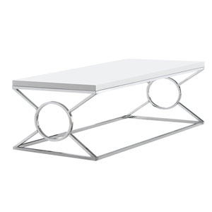 Glossy White and Chrome 22-Inch Coffee Table