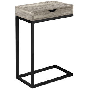Taupe and Black 10-Inch Accent Table