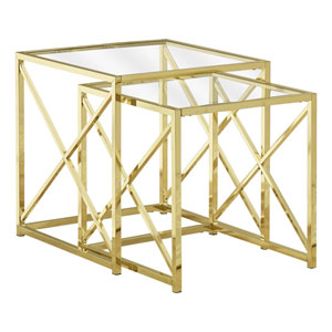 Gold 20-Inch Nesting Table, 2 Pieces