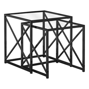 Black 20-Inch Nesting Table, 2 Pieces