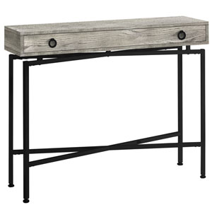 Gray and Black 12-Inch Console Table with Large Storage Drawer