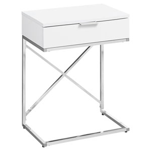 Glossy White and Chrome 13-Inch Accent Table with X Design Frame