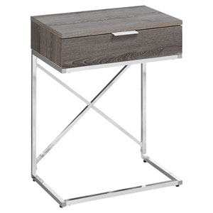 Dark Taupe and Chrome 13-Inch Accent Table with Rectangular Top