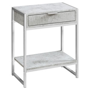 Gray and Chrome 13-Inch Accent Table with Open Shelf