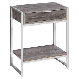 Dark Taupe and Chrome 13-Inch Accent Table with Open Shelf