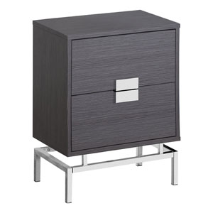 Black and Chrome 13-Inch Accent Table with Two Storage Drawers