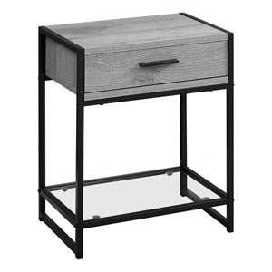 Gray and Black 12-Inch Accent Table with One Drawer
